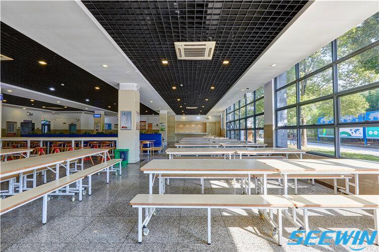 学生食堂餐厅钢木折叠餐桌椅